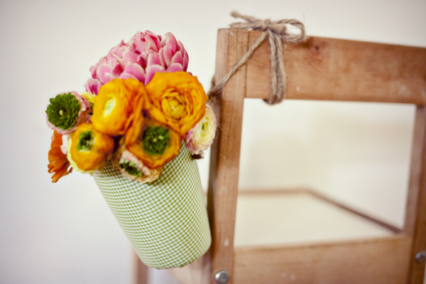 Fabric Flower Containers; Photo Credit: OnceWed.com