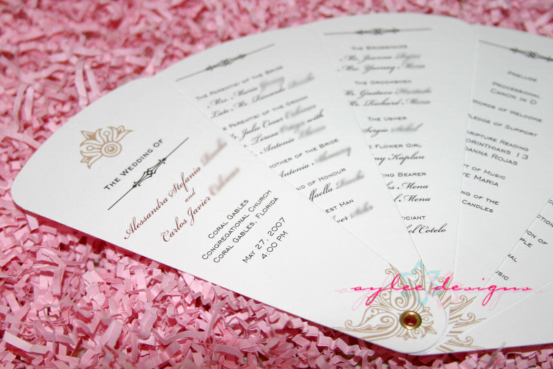 Fan Wedding Programs from AyleeBits.com