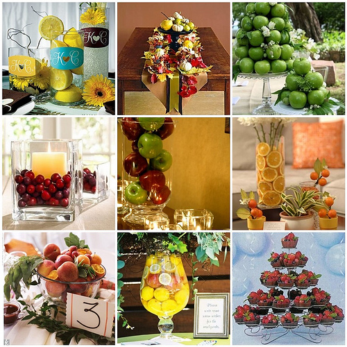 Unique Fruit and Veggie Wedding Centerpieces