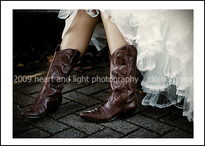 bride cowboy boots Photo credit Heart and Light Photography