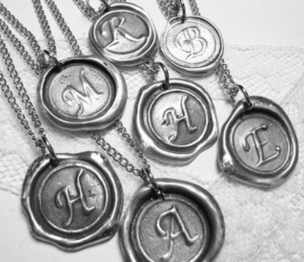 Monogram wedding jewelry