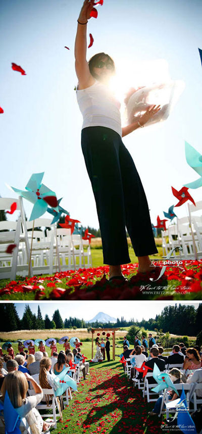 Pinwheel wedding ceremony