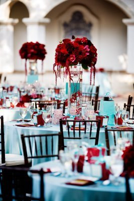 red and aqua wedding