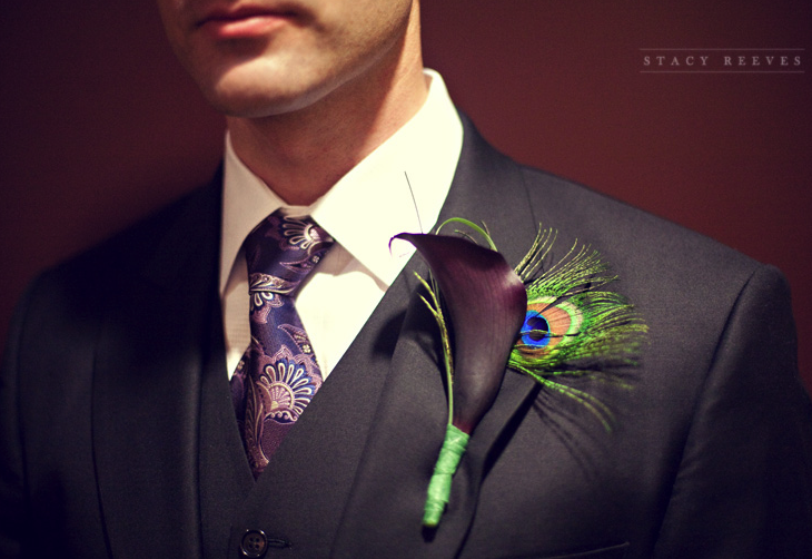 peacock boutonnieres