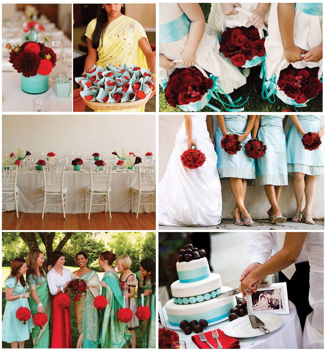 Red, White & Aqua Wedding Colors