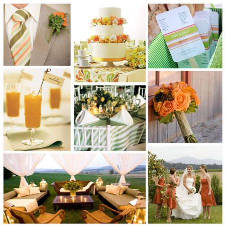 peach and green wedding