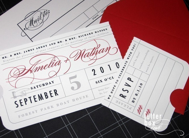 ticket wedding invites