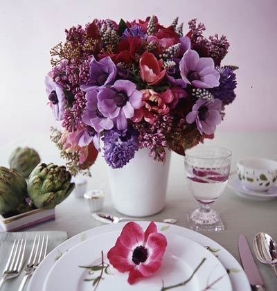 purple flower centerpieces