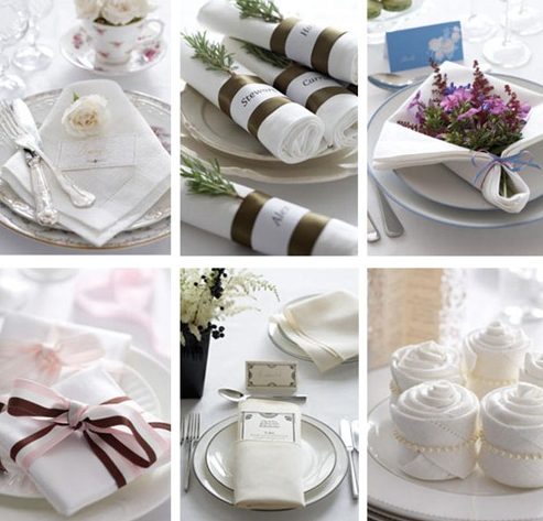 Wedding Details Folded Napkin Table Decor