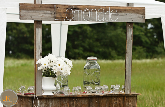 Wedding beverages lemonade stand for Rustic lemonade stand