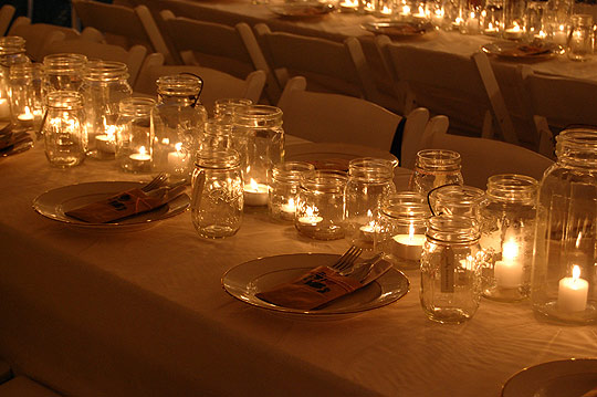 Mason Jars Recycled Wedding Centerpiece simple candleholders
