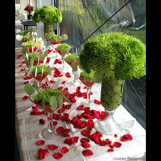 green wedding escort cards table