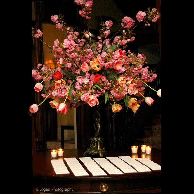 pink flower wedding decor