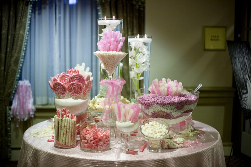 pink wedding candy table Photo Credit Elizabeth Anne Designs