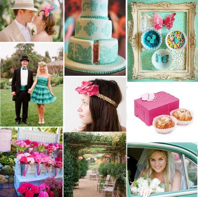 aqua fuchsia wedding