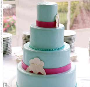 blue pink wedding cake