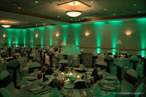 green wedding uplighting