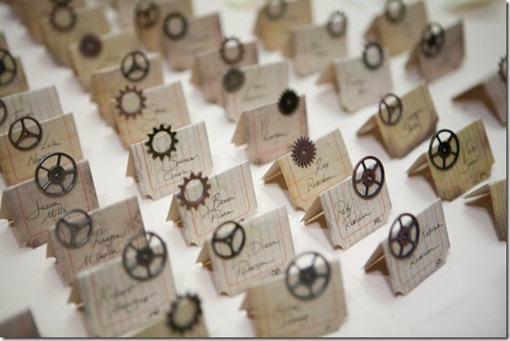 steampunk escort cards