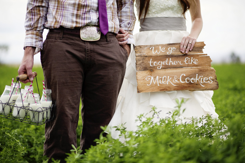 milk and cookie themed wedding photos