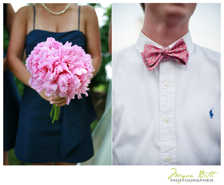 navy and pink wedding details
