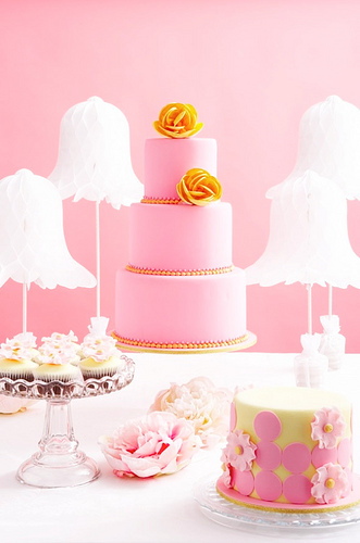 pink orange wedding cake