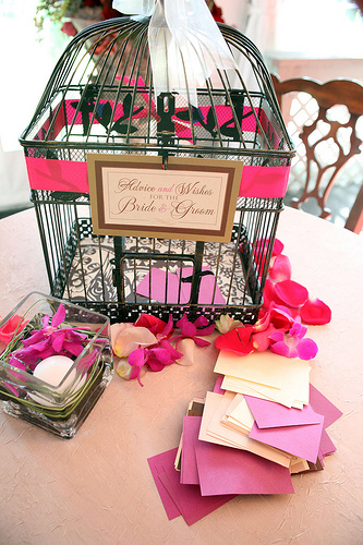 pink wedding birdcage