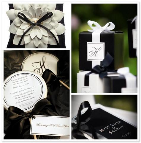 black and white wedding favors Photo Credit AustraliaEntertainscomau