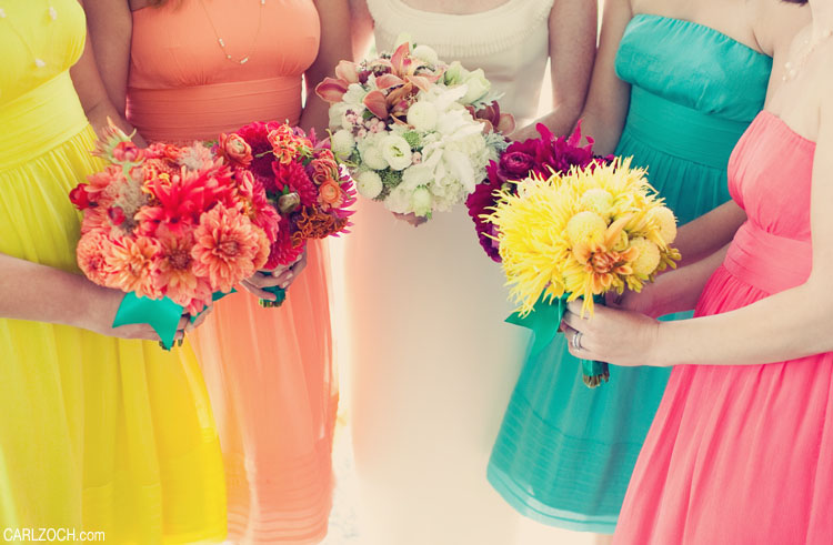 mismatching bridesmaid bouquets