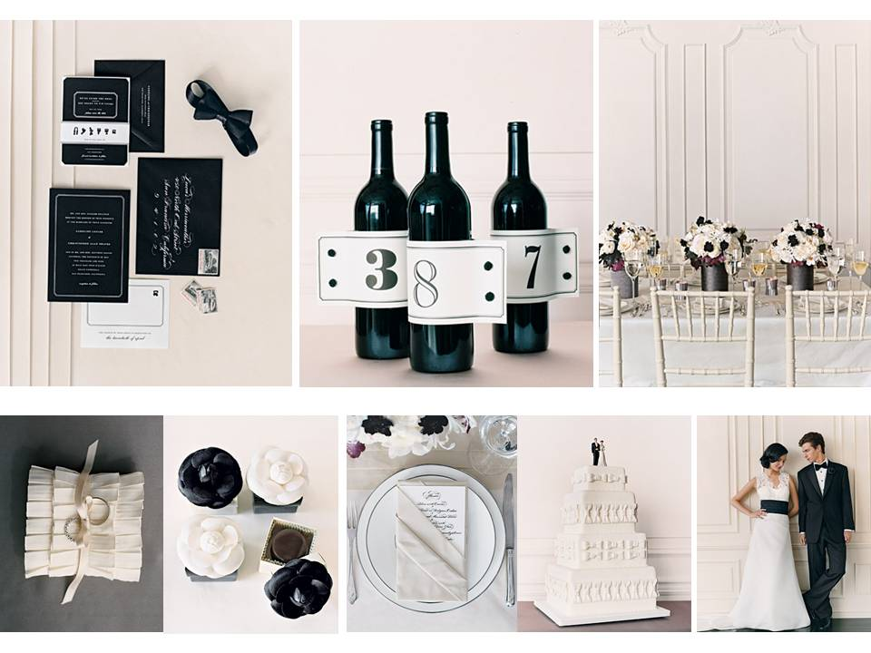 black and white wedding details