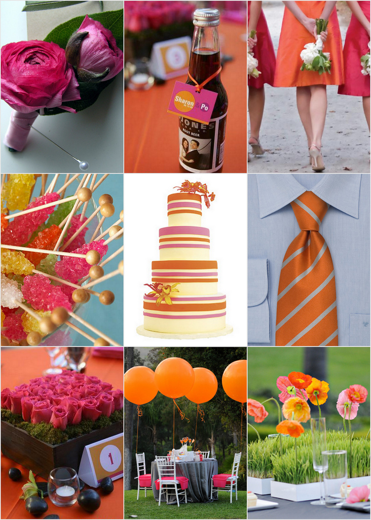 pink and orange weddings