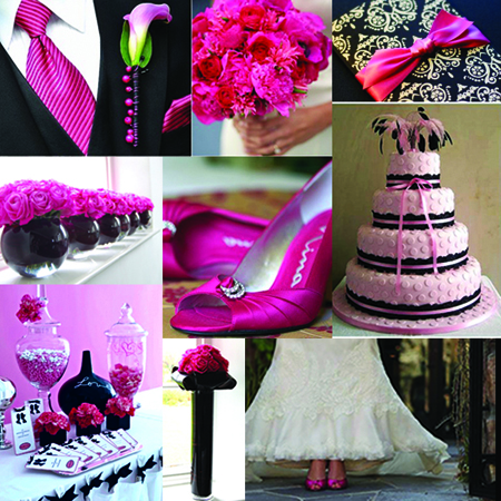 hot pink wedding details