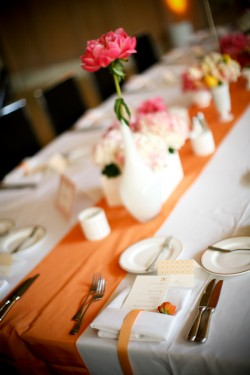 pink orange wedding decor