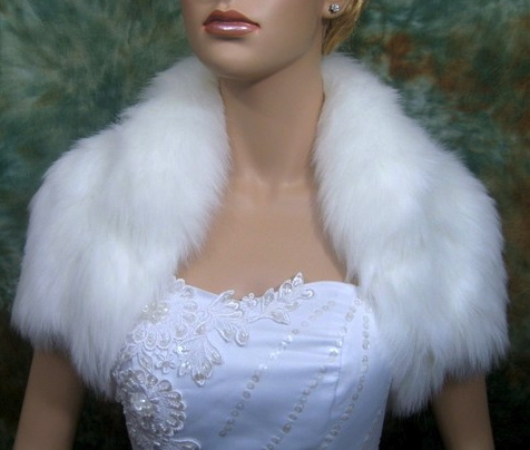 fur wedding shrug