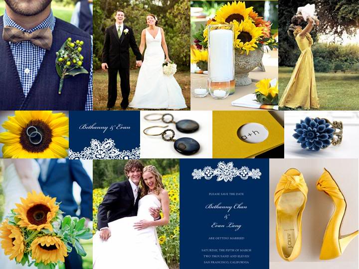 navy and yellow weddings