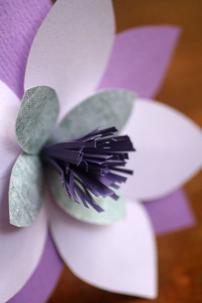 purple paper wedding flowers