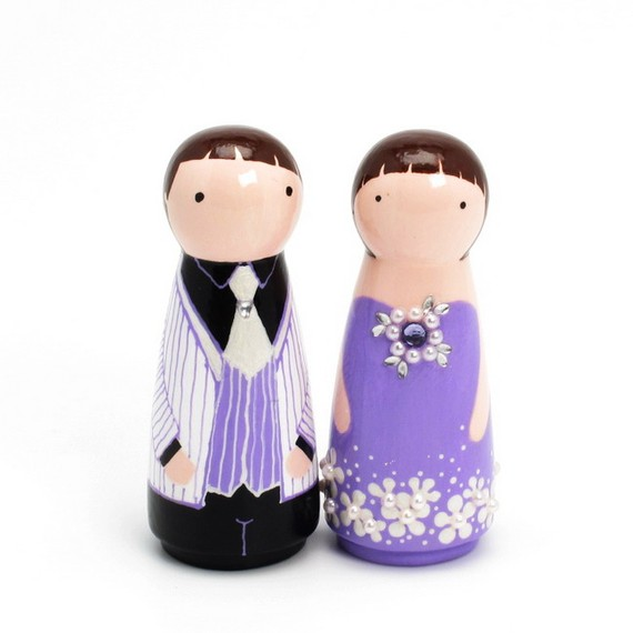 purple wedding cake toppers