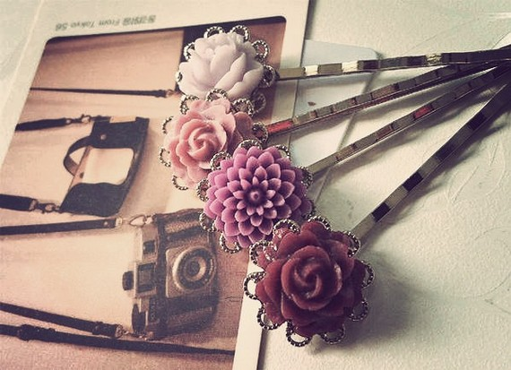purple flower hair pins