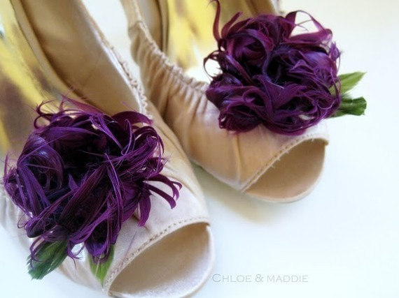 purple flower wedding shoe clips