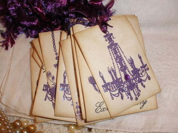 purple wedding tags