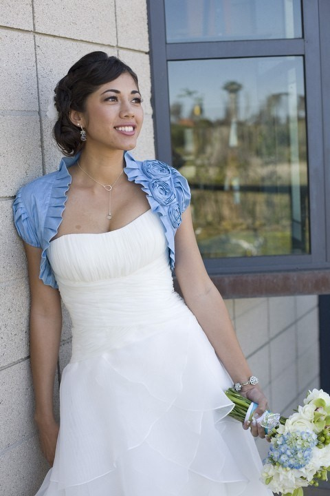 blue wedding shrug