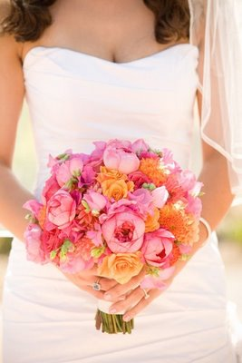 orange pink wedding flowers