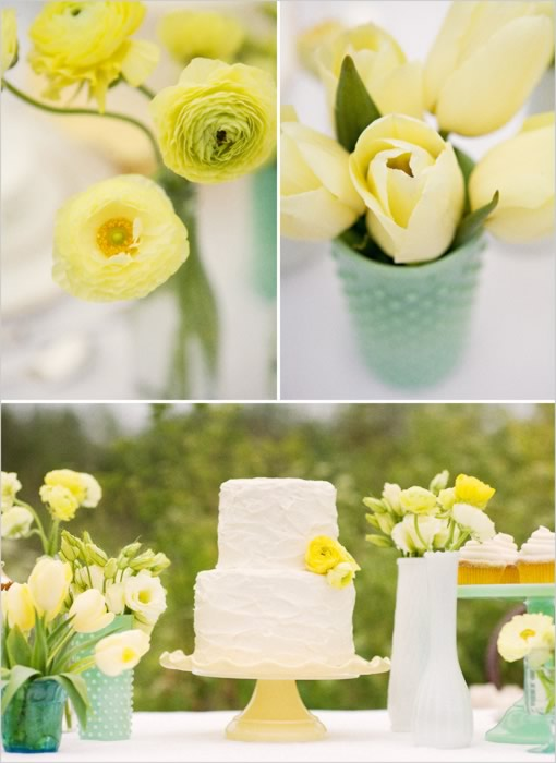 yellow green wedding inspiration Photo Credit WWeddingFlowerscom
