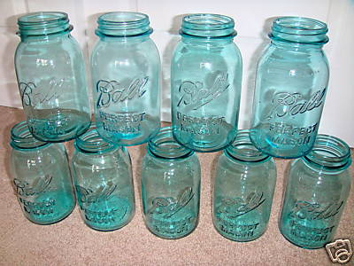 blue tinted mason jars