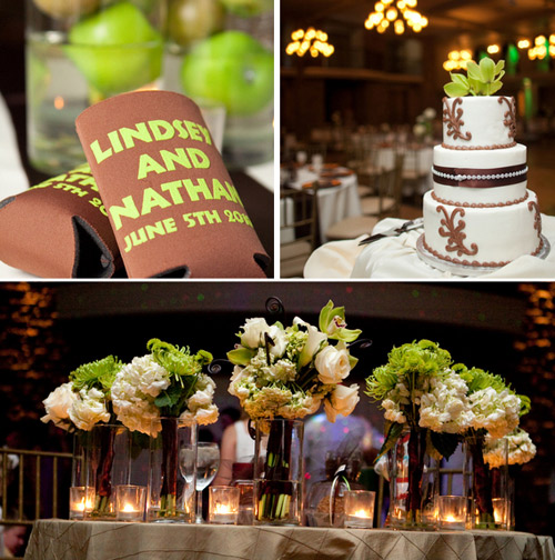 lime green brown wedding details