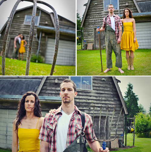 American Gothic engagement photos