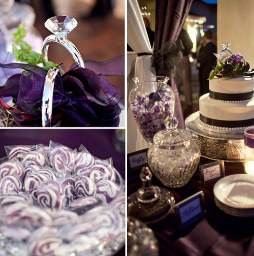 purple wedding dessert table
