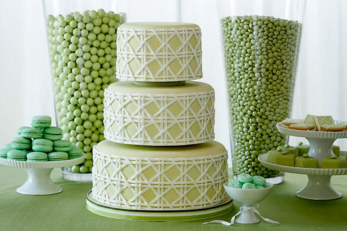 green wedding dessert buffet