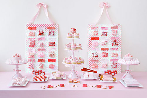 Pink wedding dessert bar