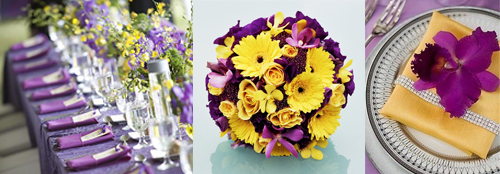 purple yellow weddings