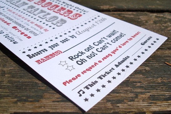 wedding ticket stationery